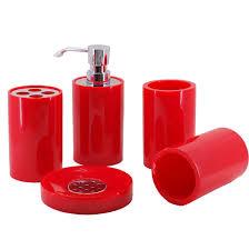 Dark Red Bathroom Accessories Stylish Bath Accessories Glamorous Red Bathroom Accessories Sets