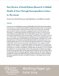 peer review of social science research in global health a view  peer review of social science research in global health a view through correspondence letters to the lancet working paper 371
