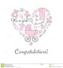 Newborn Congratulation Card Set Of Items For A Newborn Girl Stock Vector Illustration Of