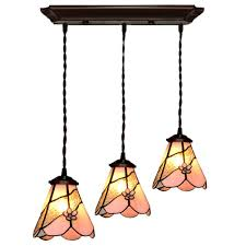 fumat tiffany style stained glass pendant lights pink flower glass design
