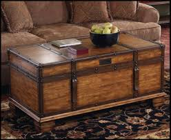 ... Storage Idea To Decorating Coffee Table, Beautiful Brown Rectangle  Cottage Wood Coffee Table Trunks Design To Improve Your Living ...