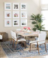 this rug placement leaves enough room for the chairs around the table to move it s