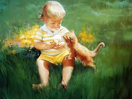 cute baby with kitten