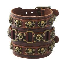 mens personalized skull leather cuff bracelet thick wide locking copper bangle whristband adjustable black brown jewelry gifts for men gold charm bracelets