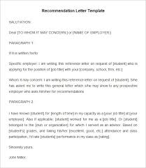 Letter Of Recommendation Student Simple Recommendation Letter For Student