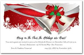 Christmas Inviations Silver Bells Holiday Party Invitations