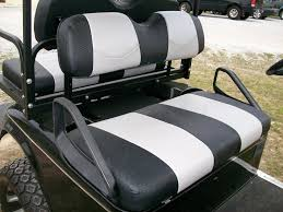 black carbon fiber and silver carbon fiber striped deluxeâ golf cart seat covers