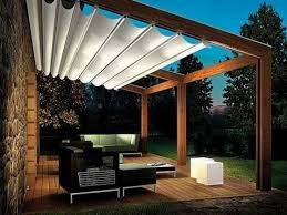 White Canvas Shade Wooden Roofing For Pergola Covers Over Patio