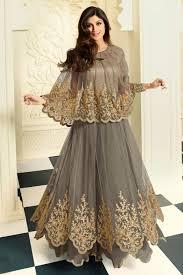 Online Shopping Shilpa Shetty Grey Net Georgette Gown Style Salwar