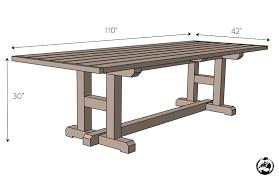 diy h leg dining table plans dimensions