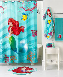 ... Disney Kids Bathroom Sets With Freestanding Bathtub And Mermaid Shower  Curtains Also Small Wooden Table Under ...