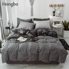 2019 hongbo new thick crystal velvet black white stripe bedding sets bed linen duvet cover bed sheet pillowcase winter warm set from aldrichy