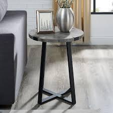 slate gray rustic side table metal