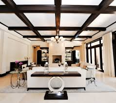 ... Modern Coffered Ceiling Ideas : Luxury Modern Contemporary Living Room  Design With White Sofa And Round ...