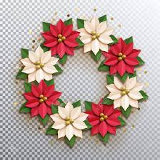 Christmas Paper Flower Wreath Christmas Star Paper Poinsettia Red And White Flowers Wreath