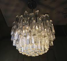 wonderful italian crystal chandelier venini italian triedri crystal prism chandelier for at 1stdibs