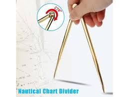 Nautical Chart Holder Solid Brass 168mm Nautical Chart Straight Divider Marine Dividing Tool Compass Portable No Rust For Architects Marine Navigation