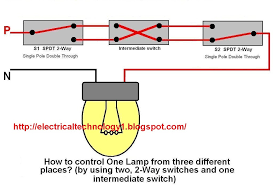 2 way switch how to control one lamp from three different places 2 way switch electrical lighting wiring diagram how to control one lamp from three different places