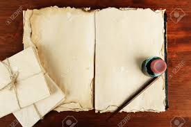open old book letters and ink pen on wooden background stock photo 20251051