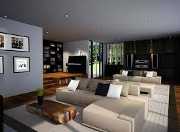 Modern zen style living room with wood accent wall fireplace, globe  lighting, beige furniture