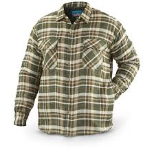 Men's Quilted Flannel Shirt Jacket - 639198, Insulated Jackets ... & Men's Quilted Flannel Shirt Jacket, Olive / Tan Adamdwight.com