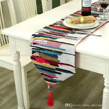 modern runner fashion table colorful nylon cloth with tassels embroidered mid century rug modern runner