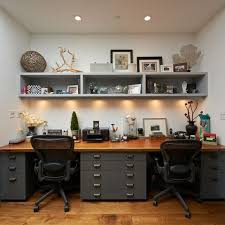 Design A Home Office Enchanting Dual Workspace With Lots Of Flat File Storage And Decorative Shelf