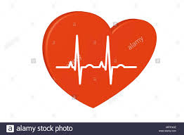 Heart And Pulse Rate Chart Red Heart On A White Background Pulse Rate Chart