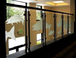 glass etched railings glass etching railing