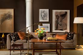 1950S Interior Design Amazing In A Chelsea Loft Works On Paper Are Hung On Walls Painted Very Dark