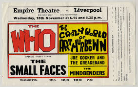Liverpool Empire 1968 Concert Ticket Booking Slip Flyer Small Faces The Who Arthur Brown