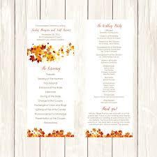 013 Template Ideas Wedding Program Diy Fall Swirling Leaves Editable