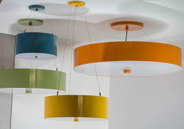 colored metal drum pendant by donovan lighting suspended lights