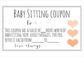Free Printable Babysitting Coupons This Page Contains And
