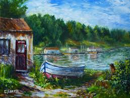 boat new acrylic painting