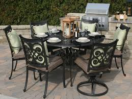 outdoor dining set herve 6 person round aluminum dining set oal7117
