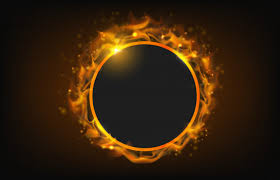 glowing circle fire frame with particle