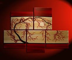 huge zen wall art red and gold large painting contemporary abstract asian fusion gnarly plum blossom on wall art red with huge zen wall art red and gold large painting contemporary abstract