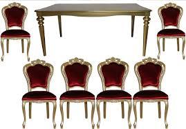 Casa Padrino Barock Luxus Esszimmer Set Bordeauxgold Esstisch 6 Stühle Möbel Antik Stil Luxus Qualität Limited Edition