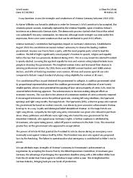 essay question assess the strengths and weaknesses of weimar essay question assess the strengths and weaknesses of weimar between 1919 1932 weimar republic international politics
