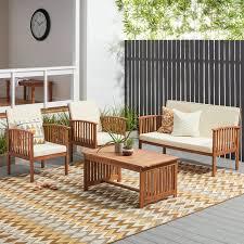 Sofa set Blue Carolina 4piece Outdoor Acacia Sofa Set By Christopher Knight Home Wayfair Shop Carolina 4piece Outdoor Acacia Sofa Set By Christopher Knight
