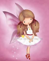 pink fairy angel girl art print from