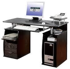 Techni Mobili Dual Pedestal Computer Desk In Espresso Desks And Within Techni  Mobili Computer Desk Plan ...