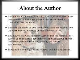 the giver intro background information history of the author and novel 3 about the author lois lowry