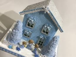 Christmas Glitter House, Christmas Putz House, Light Blue and White, Bows,  Three Little Angels, Snowflakes, Blue Trees, Fence with Flowers