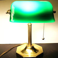green glass shade classic bankers desk lamp polished