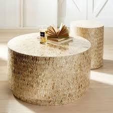 capiz round drum coffee table wood drum coffee table large