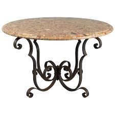 french art deco wrought iron marble top