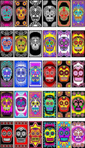 <b>Bright Colored Sugar</b> Skull Digital Pictures for 1x2 Inch Dominos ...
