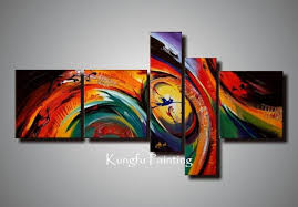 100 hand painted unframed abstract 5 panel canvas art living room wall decor painting modern sets com5436 5 panel canvas art 5 panel 5 canvas art